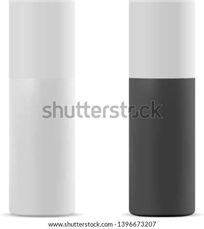 Spray Bottle. Aerosol Can. Cosmetic Tube Mockup for Deodorant, Perfume. Realistic Cylinder Packing for Dry Shampoo, Air Freshener, Antiperspirant. Shave Foam Product Packaging Mock Up Design.