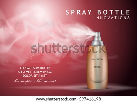 Spray bottle innovations-isolated on purple backdrop.Glamorous cosmetic premium ads,facial treatment essence.3D ice toner,translucent contained.For web site,advert, template,leaflet and advertisement