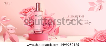Spray bottle on round podium with elegant paper roses in pink, 3d illustration cosmetic ads