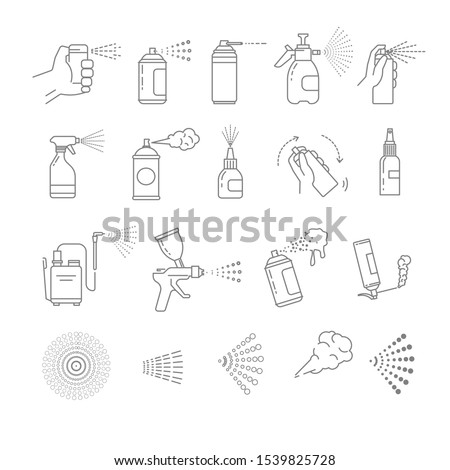 Spray cans isolated flat line icons vector. Hand with aerosol, airbrush and graffiti art, automizer and construction foam, medical means container. Disinfection and cleaning, building and washing