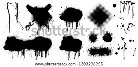 Spray graffiti stencil template. Isolated collection. Black splashes isolated on transparent background. Vector set Spray