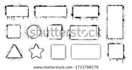 Spray graffiti stencil with white frame for text. Stencil frames with brush splash. Black airbrushing paint banner, rectangular stencil border. Set stencil border isolated on white background. Vector