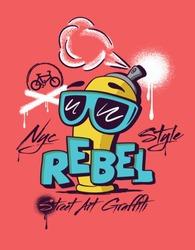 spray. graffiti street art. illustration spray graphic tee design