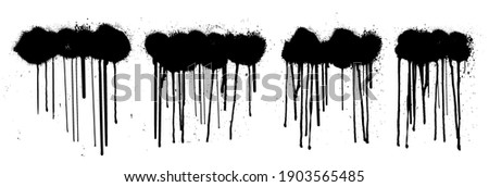Spray graffiti template set. Dirty paint clouds splashes and drip lines paint. Grunge Stencil graffiti spray, isolated set. Black cloud graffiti with splashes and drops. Vector illustration set
