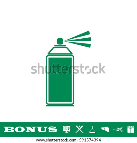 Spray icon flat. Green pictogram on white background. Vector illustration symbol and bonus button