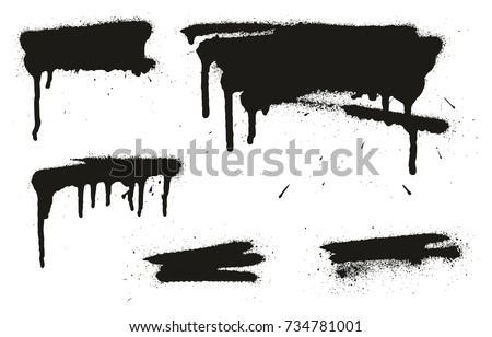 Spray Paint Abstract Vector Backgrounds, Lines & Drips Set 10