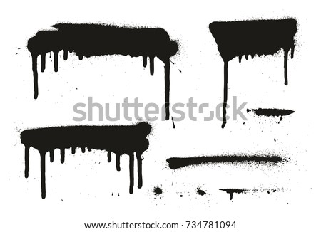 Spray Paint Abstract Vector Backgrounds, Lines & Drips Set 13