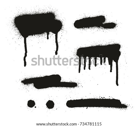 Spray Paint Abstract Vector Backgrounds, Lines & Drips Set 12