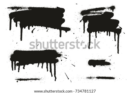 Spray Paint Abstract Vector Backgrounds, Lines & Drips Set 04