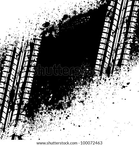 Spray paint blots with tire track