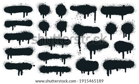 Spray paint shapes. Sprayed grunge dripping dots and borders, abstract graffiti spraying textured shapes vector illustration set. Paint splatter symbols. Dripping spraying textured, spatter texture