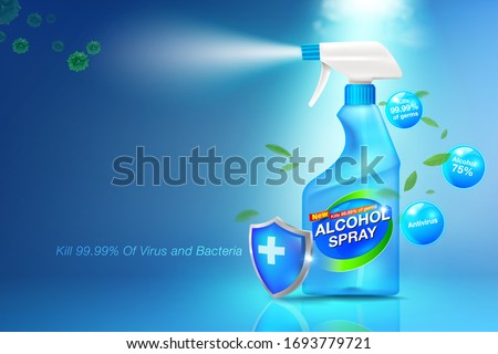 Spray sanitizer Anti-Virus and Anti-Bacterial Poster concept on health and disease prevention Antiseptic to prevent colds, Covid-19 virus and germs The alcohol spray is packed in a clear blue bottle.