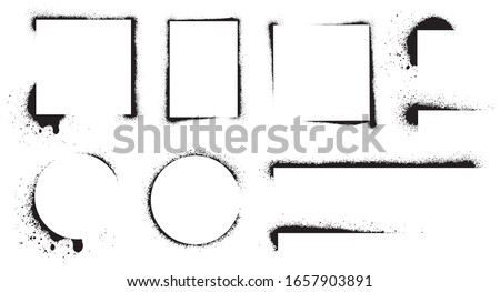 Spray stencil frame collection. Blank grunge frames set with aerosol paint texture. Black splashes isolated on white. Graffiti element for your design. Vector illustration.