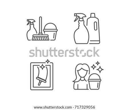 Spray Window Cleaning And Maid Equipment Line Icons Bucket Mop Housekeeping Signs