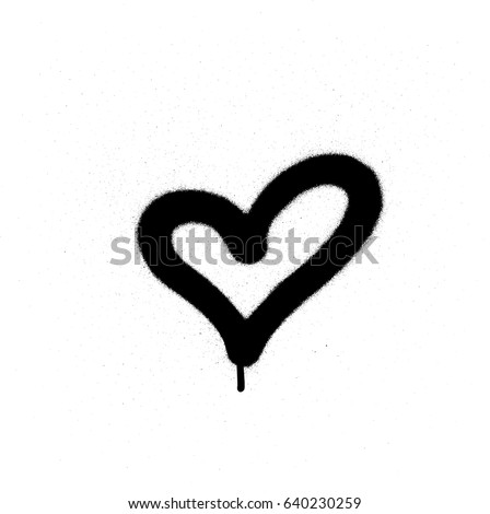 sprayed graffiti heart in black on white