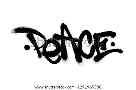Sprayed peace font with overspray in black over white. Vector illustration.