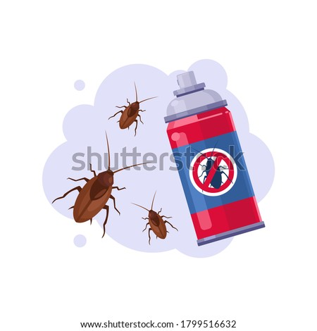 Sprayer Bottle of Cockroach Insecticide, Pest Control Service, Detecting and Exterminating Insects Vector Illustration Foto stock ©