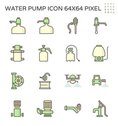 Sprayer vector icon. Consist of manual hand compression, backpack, drone and boom. Include pump i.e. drinking water bottle pump, diaphragm, centrifugal, hand rotary, barrel, screw and well. 64x64 px.