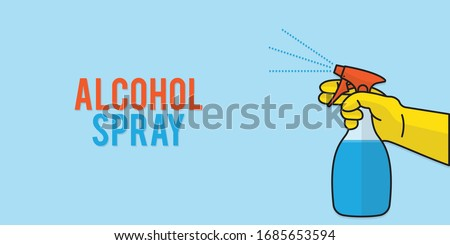 Spraying Anti-Bacterial Sanitizer Spray, Hand Sanitizer Dispenser, infection control concept. Sanitizer to prevent colds, virus, Coronavirus, flu. Spray bottle. Alcohol spray. Flat icon design.