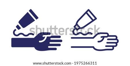 Spread cream or relief gel on arm icon vector illustration. Stock photo ©