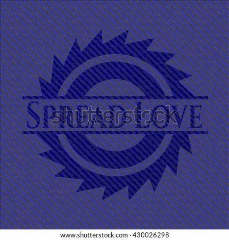 Spread Love badge with denim texture