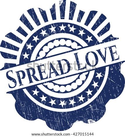 Spread Love grunge style stamp