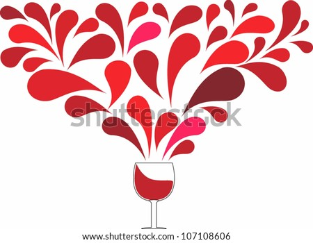 Spread wine drop out over a glass of wine