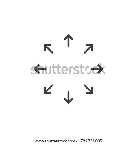 Spreading outward arrows icon. Distribution arrows. Stock vector illustration isolated on white background. Foto stock ©