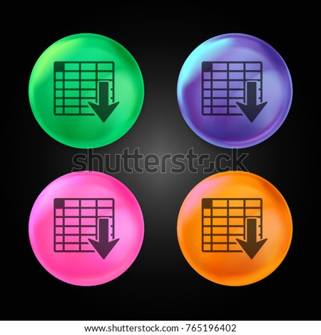 Spreadsheet ascending order crystal ball design icon in green - blue - pink and orange.