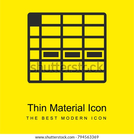 spreadsheet cell row bright yellow material minimal icon or logo design