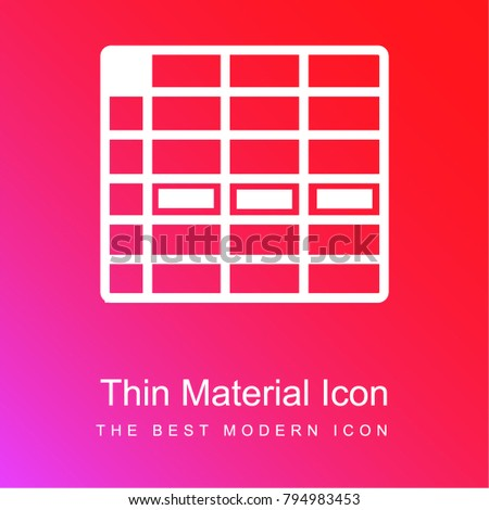 spreadsheet cell row red and pink gradient material white icon minimal design