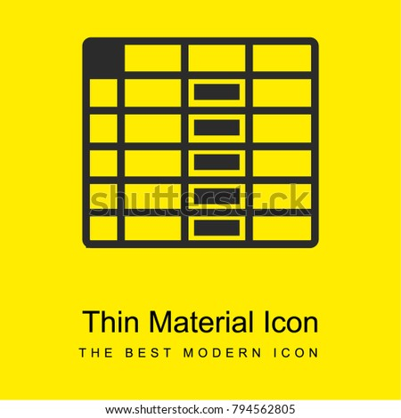 spreadsheet column bright yellow material minimal icon or logo design