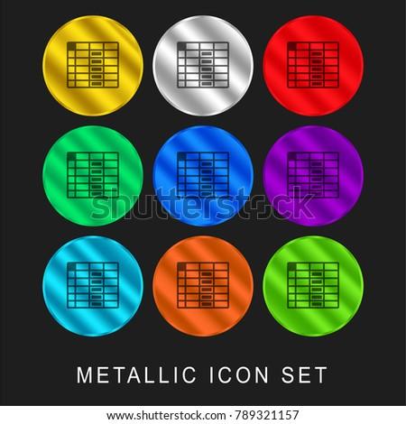 spreadsheet column 9 color metallic chromium icon or logo set including gold and silver