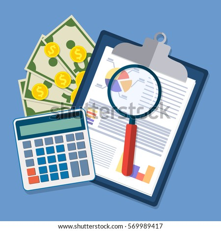 Shutterstock Spreadsheet concept. clipboard with financial reports, calculator, money and magnifying glass. vector illustration in flat design