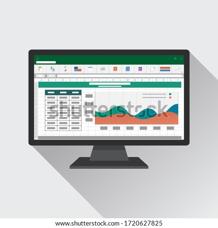 Spreadsheet on Computer screen flat icon. Financial accounting report concept. office things for planning and accounting, analysis, audit, project management, marketing, research vector illustration.