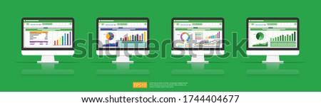Spreadsheet on Computer screen flat icon. Financial accounting report concept. office things for planning and accounting, analysis, audit, project management, marketing, research vector illustration Stock photo ©