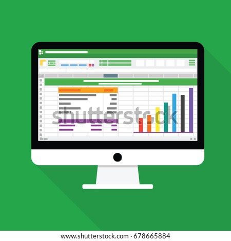 Spreadsheet software computer screen with financial accounting data. database analytical business report. audit investigation document with table and number. flat icon isolated vector illustration