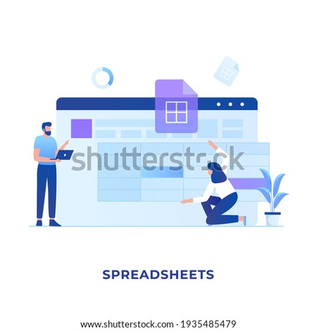 Spreadsheets illustration concept. Illustration for websites, landing pages, mobile applications, posters and banners. Stock photo ©