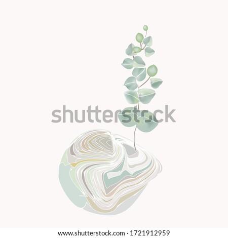 Sprig of eucalyptus and stone. Abstract minimalism. Contemporary art style illustration, Scandinavian modern imae. Minimalistic hand-drawn image. Vintage print with eucalyptus leaves, grunge effect. Stock fotó ©