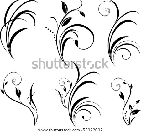 stock-vector-sprigs-floral-elements-for-