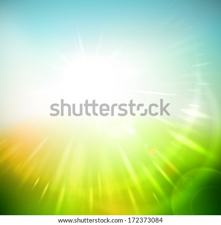 Spring Abstract Background, Sun Rays. Eps 10