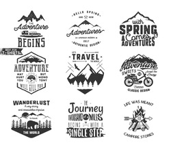 Spring adventure and mountain explorer typography labels set. Outdoors activity inspirational insignias.Silhouette hipster style. Best for t shirts, mugs. Vector patches isolated on white background.