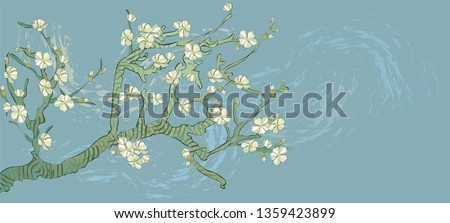 Spring almond branch, flowers in vector. Blooming tree vintage. Boho style. By pictures Vincent Van Gogh almond branch retro.