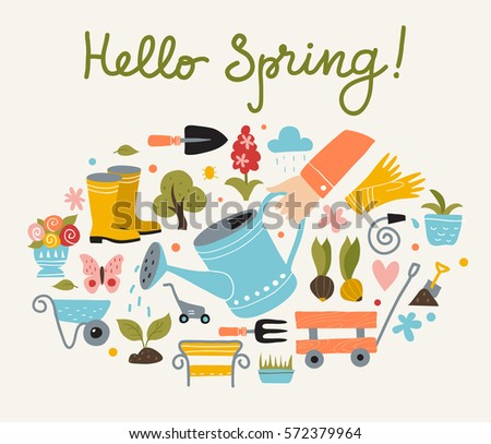 Spring and gardening poster template, hand drawn style, vector illustration