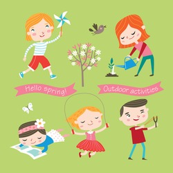 Spring and summer child's outdoor activities. Happy childhood. Vector set on a yellow-green background.