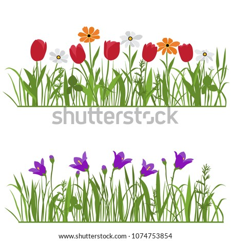 Spring and summer forest and garden flowers isolated on white vector set. Illustration of the nature of the flower and grass in spring and summer in the garden, tulip, bell, daisy #1074753854