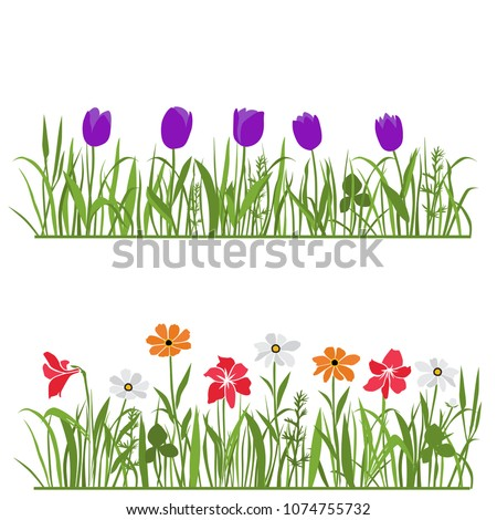 Spring and summer forest and garden flowers isolated on white vector set. Illustration of the nature of the flower and grass in spring and summer in the garden, tulip, daisy #1074755732