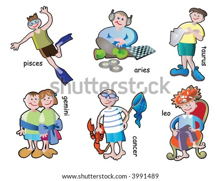 spring and summer horoscope children characters - stock vector