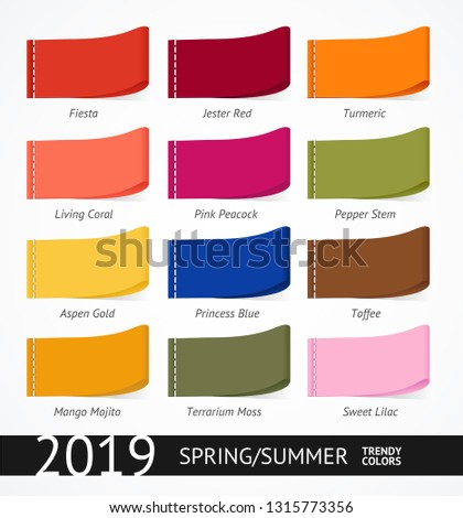 Spring and Summer Trendy Colors Label or Tag Set. Vector illustration of Fashion Palette with Tone Swatches