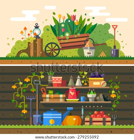 Spring and summer. Work in the garden. cultivation of land, flowers, wooden wall, warehouse, tools and materials for planting. Vector flat illustration